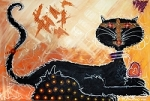 Black Cat Original Painting by barbosaart