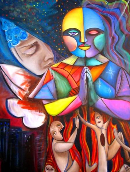 OOAK ORIGINAL PAINTING Featured in NY ARTS MAGAZINE 2008 Macabre Art by BARBOSAART