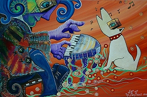 Large ORIGINAL Abstract PAINTING piano PIANIST man MUSIC musician OUTSIDER ART by BARBOSAART