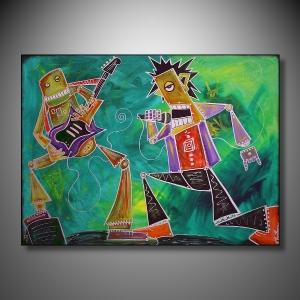 "ROBO JAM 30 X 40"" Acrylics and Ink - Mixed Media"