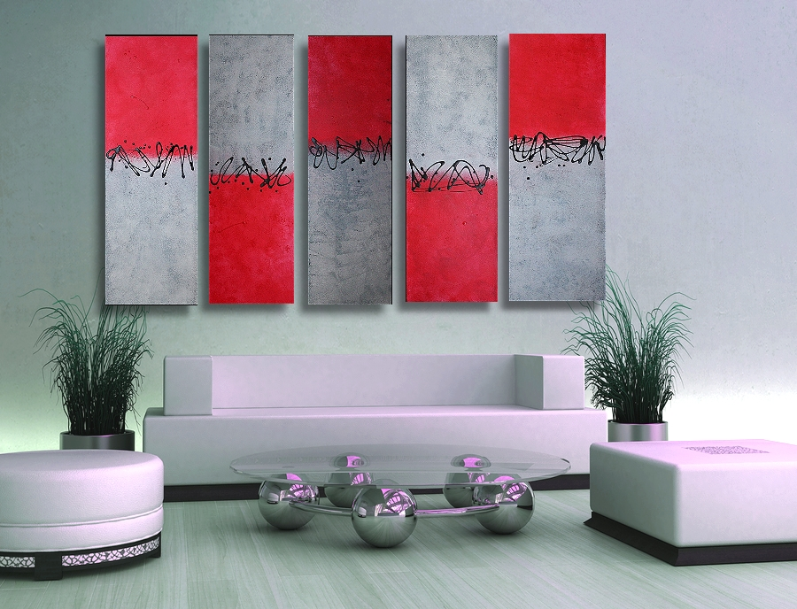 Red, Silver and Black Wall Art for The Couch, Bedroom and More