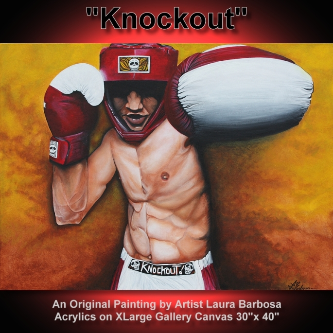 Knockout - Boxing Painting Fine Art by Laura Barbosa - ebay auction