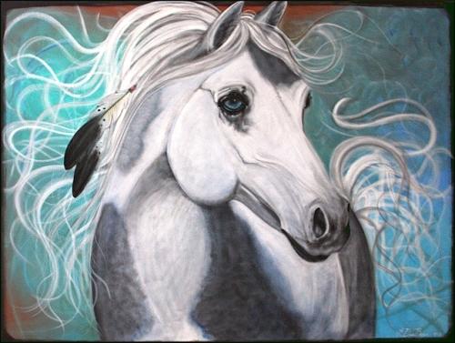 Original Native American War Pony, Horse Portrait (1/3)