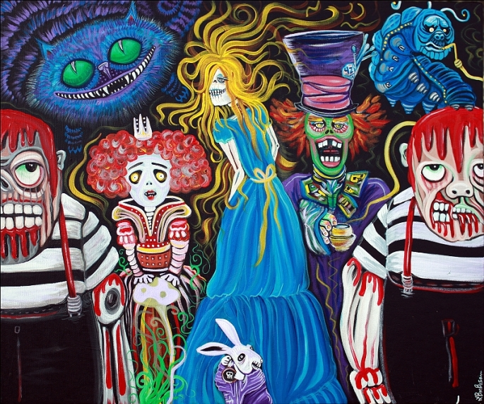 Alice in Zombieland by Laura Barbosa - Original Painting - Folk Art Dark Fantasy