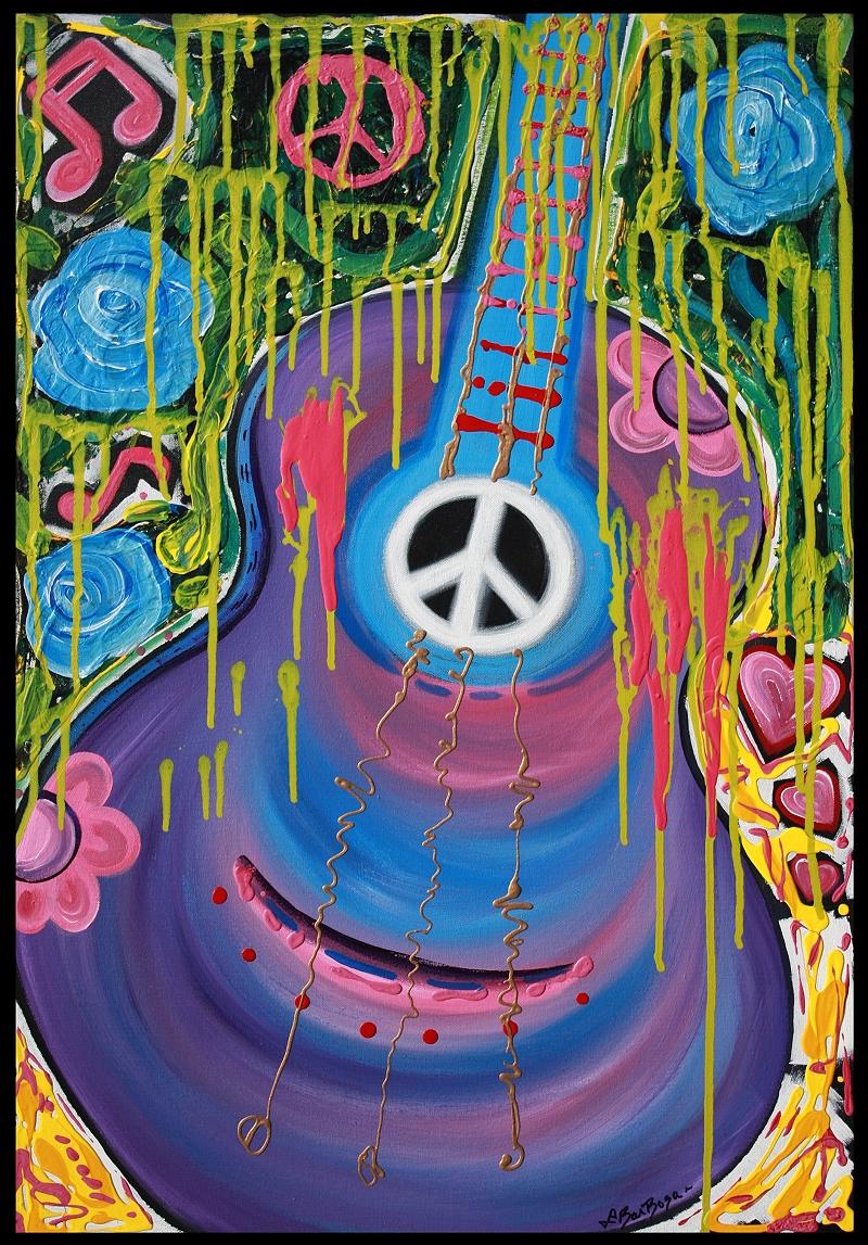 Peace Guitar Original Hippie Art