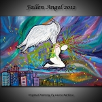 The Fallen Angel - 2012 - by Laura Barbosa Colorful Abstract Cityscape - display