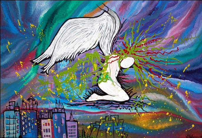 The Fallen Angel - 2012 - by Laura Barbosa Colorful Abstract Cityscape - ebay auction