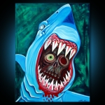 Great WHite Gobstopper - Shark Vs Zombie Painting 30x40 Laura Barbosa - eBay Auction