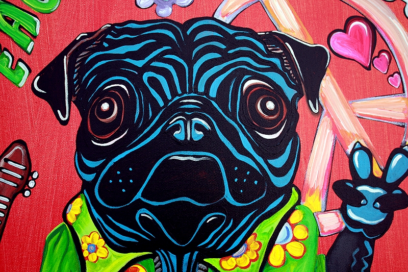 Pugs Love Peace Pop Art Painting Heart Of Art Blog