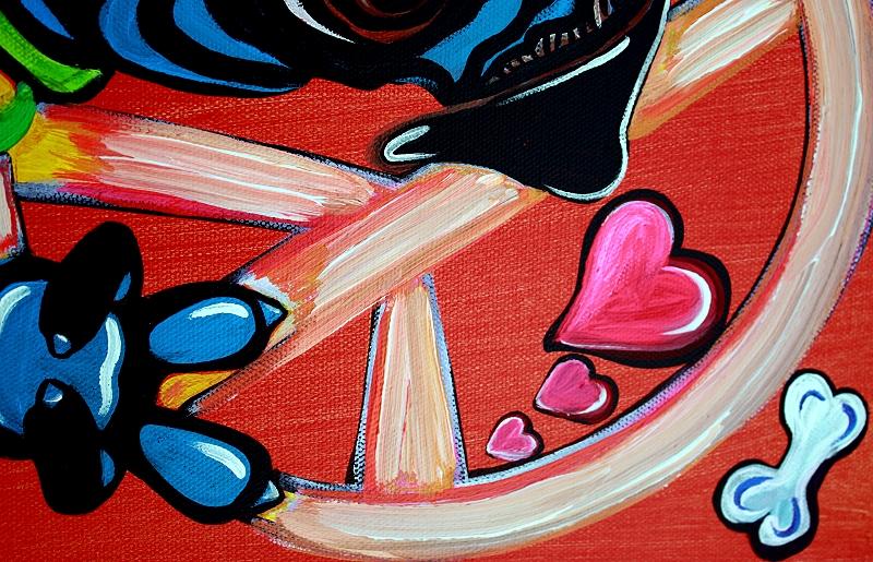 Pugs Love Peace - Pop Art Painting (3/6)