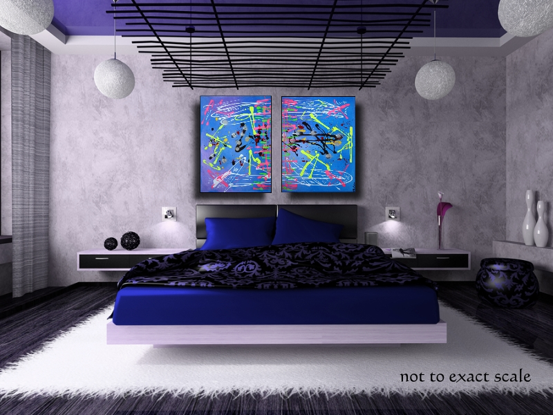 Saltwater taffy blue abstract paintings laura barbosa - Bedroom design japanese style ...