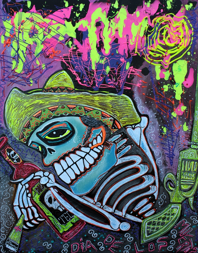 Espiritu Del Tequila Original Day of the Dead Painting by Laura Barbosa 18x24 2012 - Photo