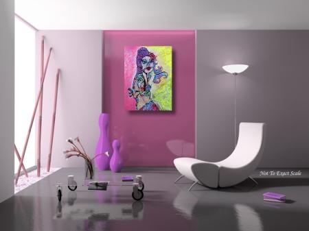 Maria De Los Muertos by Laura Barbosa Reproduction of Original Painting 2012 18x24.- Modern Decor
