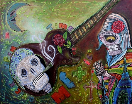 Once Upon A time in Mexico - Original Day of the Dead Painting by Laura Barbosa 24x30 2012 - eBay