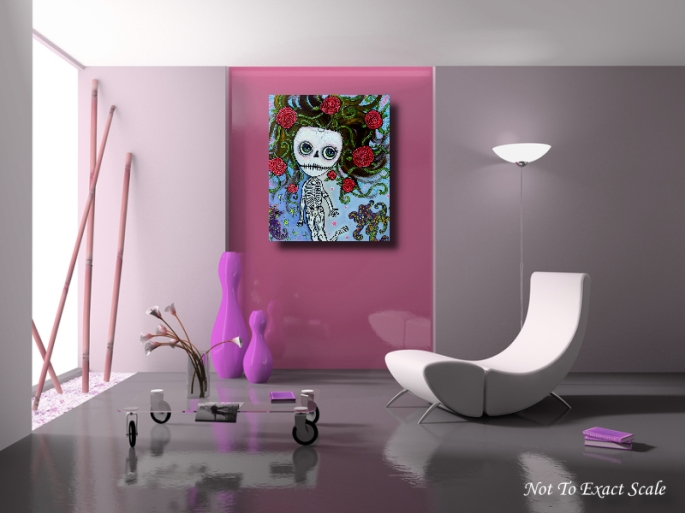 Rose of the Sea - Skeleton Girl original Painting by Laura Barbosa 24x30 2012 - Home Decor2