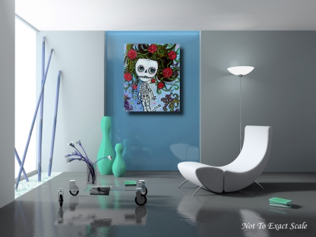 Rose of the Sea - Skeleton Girl original Painting by Laura Barbosa 24x30 2012 - Home Decor3