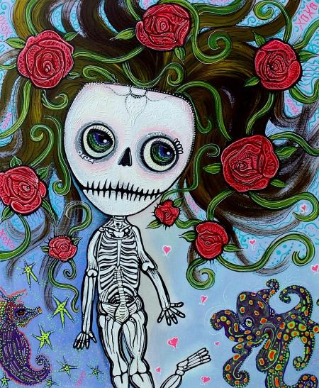 Rose of the Sea - Skeleton Girl original Painting by Laura Barbosa 24x30 2012