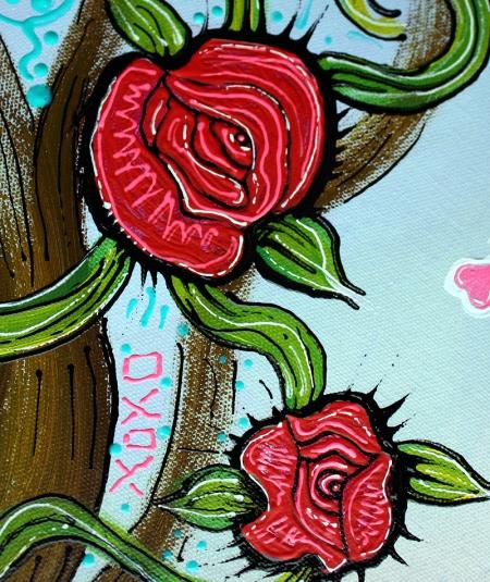 Rose of the Sea - Skeleton Girl original Painting by Laura Barbosa 24x30 - roses