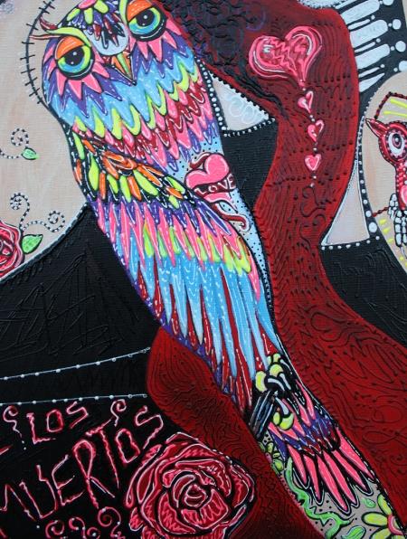 Two Senoritas Tattoo Pin Up Girls Roller Derby Dia De Los Muertos original painting by Laura Barbosa - owl