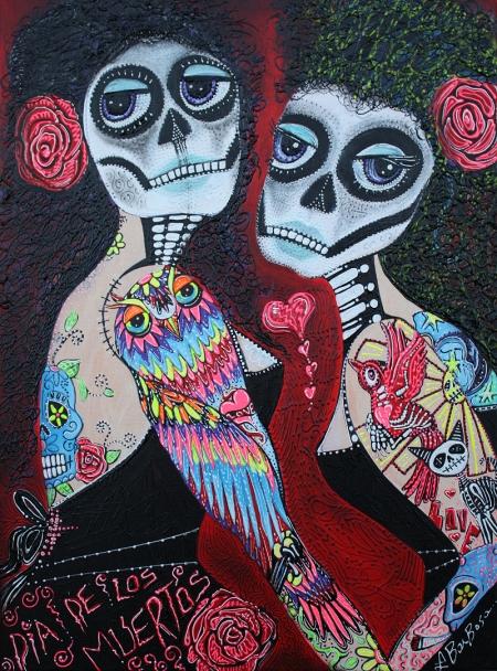 Two Senoritas Tattoo Pin Up Girls Roller Derby Dia De Los Muertos original painting by Laura Barbosa - Photo