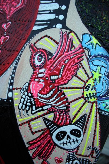 Two Senoritas Tattoo Pin Up Girls Roller Derby Dia De Los Muertos original painting by Laura Barbosa - red bird