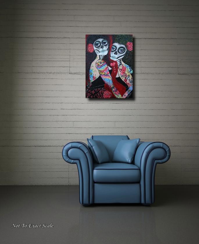 Two Senoritas Tattoo Pin Up Girls Roller Derby Dia De Los Muertos original painting by Laura Barbosa - wall art2