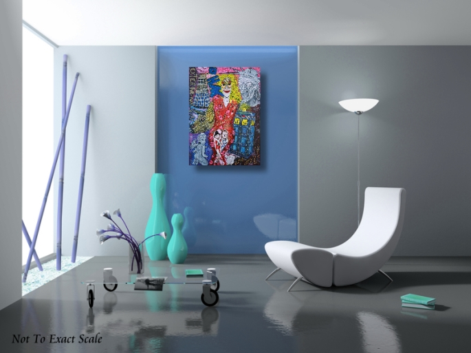 Doctor Who Obsessed Fan - Original Painting by Laura Barbosa - blue room