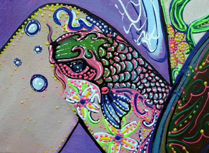 Flower Childs Song Original Painting by Laura Barbosa 2013 18x24 - Koi Fish Tattoo