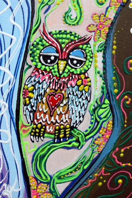 Flower Childs Song Original Painting by Laura Barbosa 2013 18x24 - Owl Tattoo