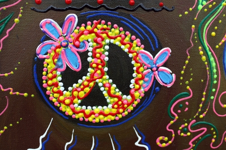 Flower Childs Song Original Painting by Laura Barbosa 2013 18x24 - Peace Symbol w Flowers