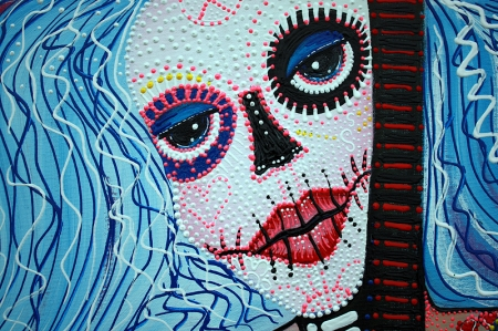 Flower Childs Song Original Painting by Laura Barbosa 2013 18x24 - Sugar Skull