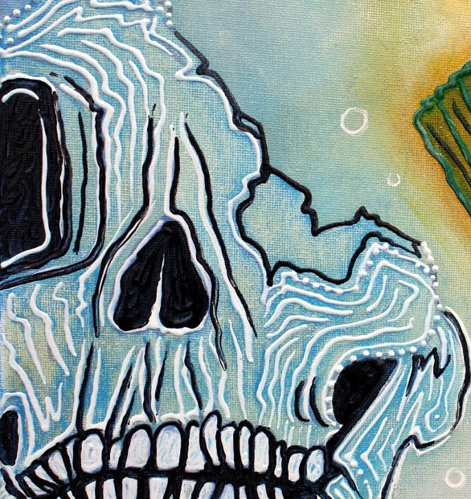 Goldfish Spirits - Original Acrylic Painting by Laura Barbosa - Lowbrow 2013 18x24 - blue skull