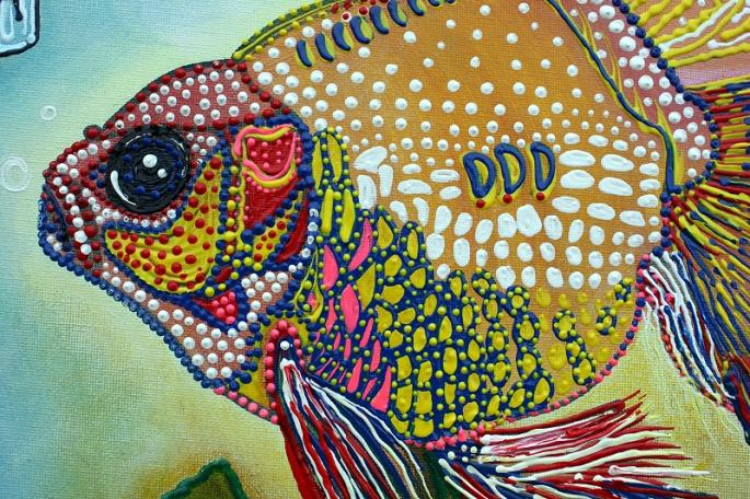 Goldfish Spirits - Original Acrylic Painting by Laura Barbosa - Lowbrow 2013 18x24 - fish eye