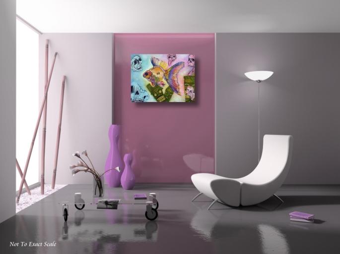 Goldfish Spirits - Original Acrylic Painting by Laura Barbosa - Lowbrow 2013 18x24- pink room