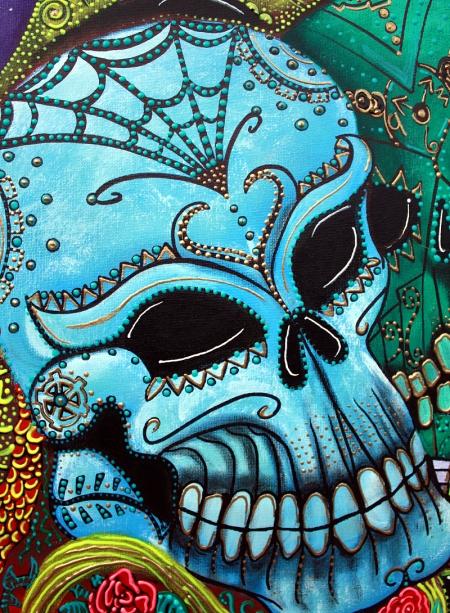 dragon Guardians by Laura Barbosa - close up blue sugar skull