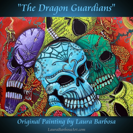 dragon Guardians by Laura Barbosa - Original Painting 18x24 2013 - Sugar Skull Art