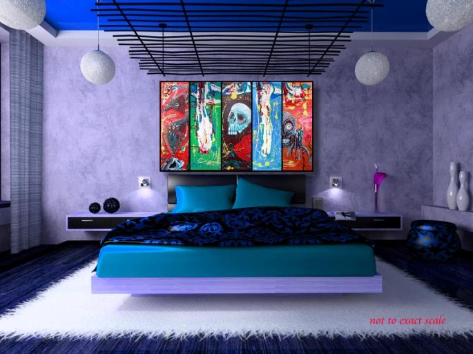 Dragonskull 5 Panel Modern Artwork by Laura Barbosa 2013 - 60x36 - blue bedroom art