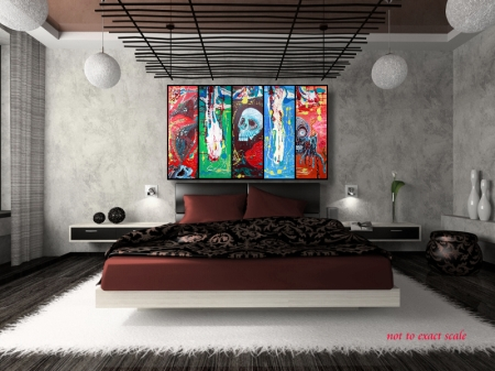 Dragonskull 5 Panel Modern Artwork by Laura Barbosa 2013 - 60x36 - brown bedroom art
