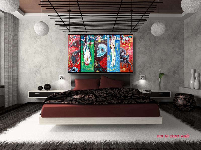 Dragonskull 5 Panel Modern Artwork by Laura Barbosa 2013 - 60x36 - brown bedroom art