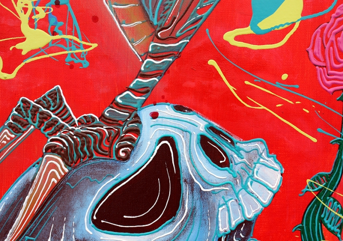 Dragonskull 5 Panel Modern Artwork by Laura Barbosa 2013 - 60x36 - crushed skull