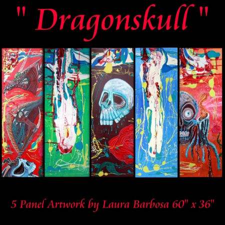 Dragonskull 5 Panel Modern Artwork by Laura Barbosa 2013 - 60x36 - Display