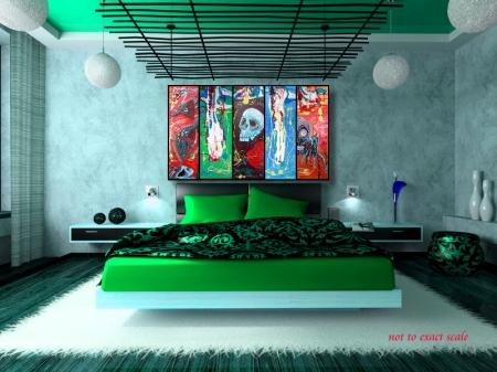 Dragonskull 5 Panel Modern Artwork by Laura Barbosa 2013 - 60x36 - green room