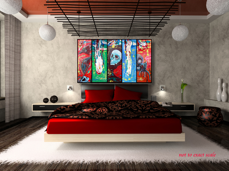 Dragonskull 5 Panel Modern Artwork by Laura Barbosa 2013  60x36 red bedroom art Heart of Art Blog