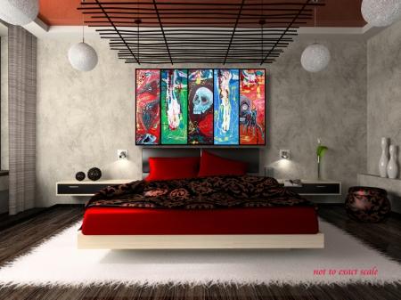 Dragonskull 5 Panel Modern Artwork by Laura Barbosa 2013 - 60x36 - red bedroom art