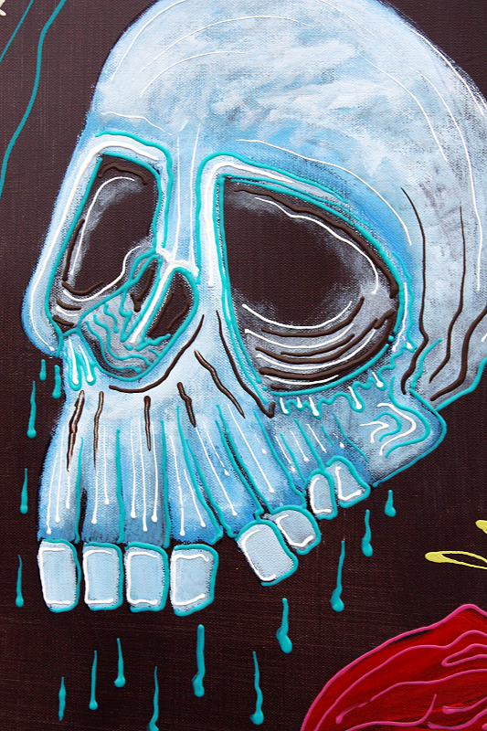 Dragonskull 5 Panel Modern Artwork by Laura Barbosa 2013 - 60x36 - Skull close up