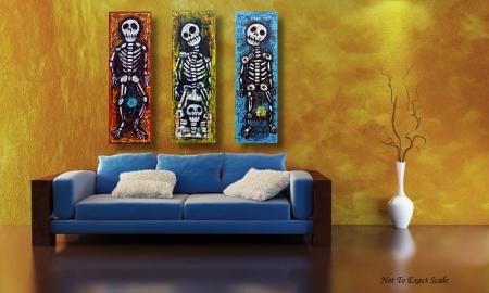 Los Compadres Muertos by Laura Barbosa 2013 - 36x36 - Modern Folk Art