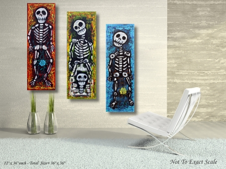 Los Compadres Muertos by Laura Barbosa 2013 - 36x36 - Modern Wall Art