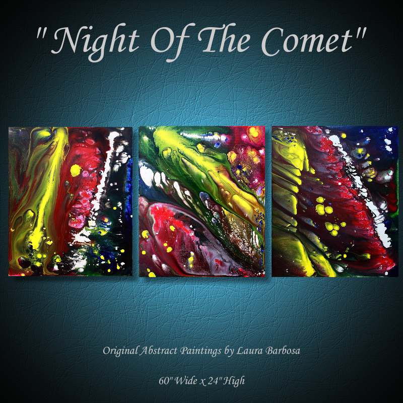 Night Of The Comet by Laura Barbosa - Original Abstract Paintings