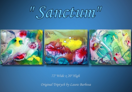 Sanctum - Original Triptych by Laura Barbosa - Pastel Abstract Art