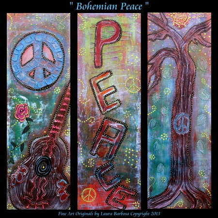 Bohemian Peace Laura Barbosa - 3 Piece Modern Art Set